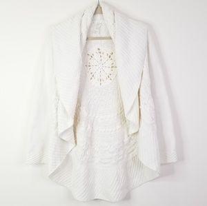 White cream waterfall medallion knit cardigan